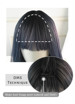 Mixed Ash Blue Straight Synthetic Wig NS175