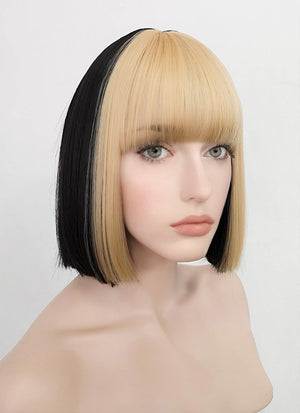 Blonde Mixed Black Straight Bob Synthetic Wig NS209
