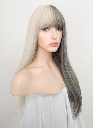 Light Blonde Grey Split Color Straight Synthetic Wig NS216