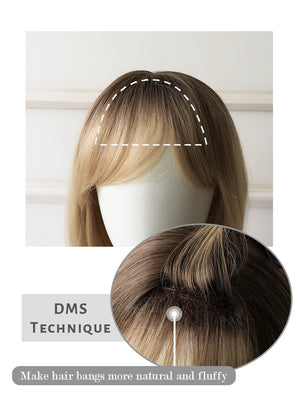 Blonde With Dark Roots Straight Bob Synthetic Wig NS218
