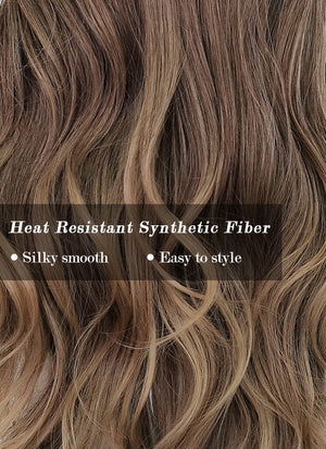 Two Tone Brown Wavy Synthetic Wig NS219