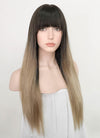 Black Ash Blonde Ombre Straight Synthetic Wig NS220