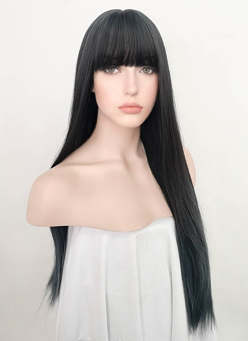 Ash Blue Straight Synthetic Wig NS241