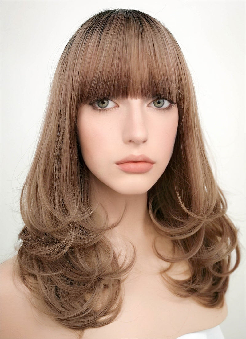 Brown With Dark Roots Wavy Bob Synthetic Wig PN001 - Wig Is Fashion Australia