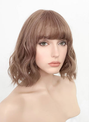 Pastel Pale Plum With Curly Bang Synthetic Wig PN004 - Wig Is Fashion Australia