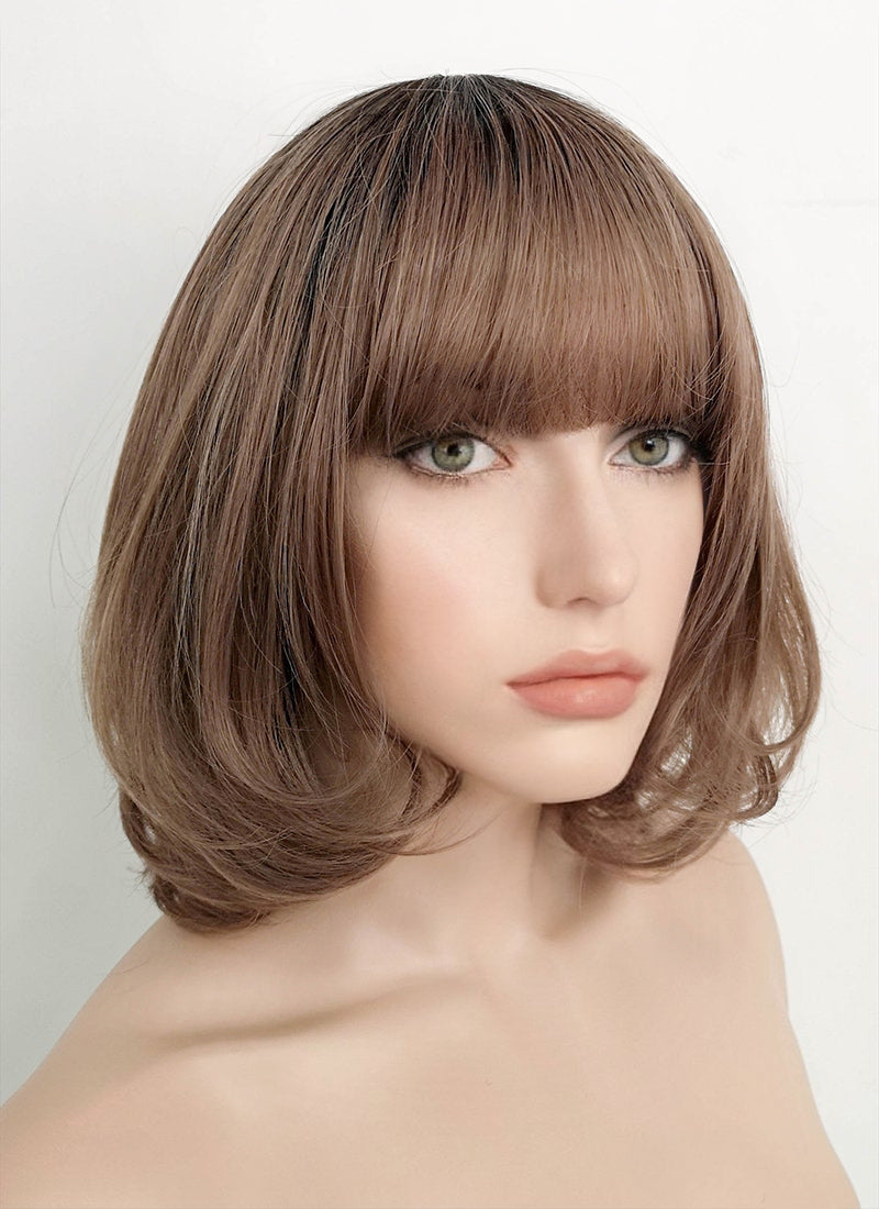 Brown With Dark Roots Straight Bob Synthetic Wig PN009 - Wig Is Fashion Australia