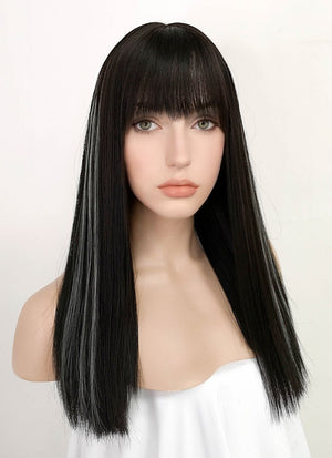 Brunette Mixed White Straight Synthetic Wig PN012
