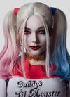 Wavy Blonde Harley Quinn Synthetic Pink Blue Ponytail Lace Front Wig LF853E - Wig Is Fashion Australia