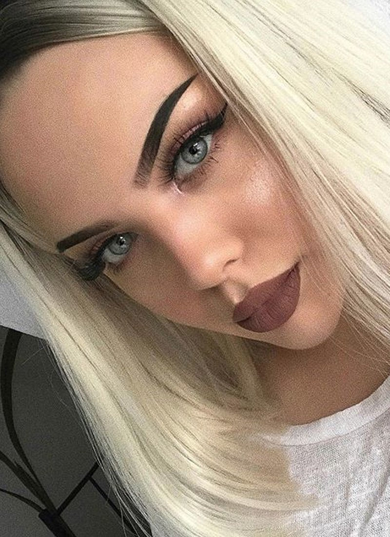 Light Blonde With Dark Roots Straight Bob Lace Front Synthetic Wig LF757A - Wig Is Fashion Australia