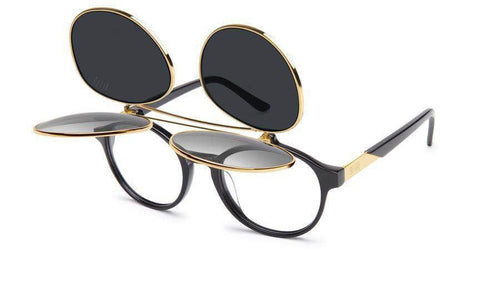 black/24k/Gold 9five lane double flip black and 24k gold sunglasses 9five glasses