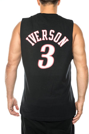 black / M mitchell and ness 76ers iverson name and number muscle mitchell and ness 5056133994018 tank