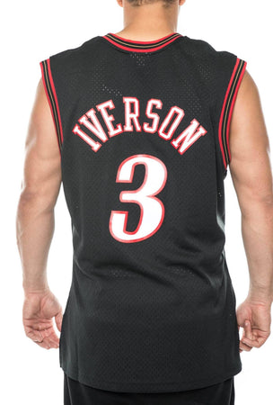 black / M mitchell and ness allen iverson 76ers 00-01 road swingman jersey mitchell and ness 191026047114 tank