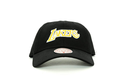 BLACK mitchell and ness los angeles lakers buzzer dad hat mitchell and ness cap