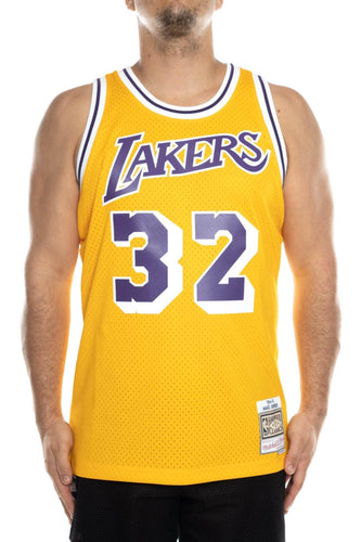Yellow / M mitchell and ness magic johnson 32 84-85 swingman jersey mitchell and ness tank