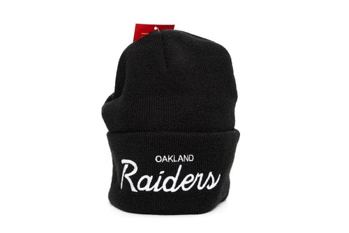 black mitchell and ness oakland raiders special script beanie mitchell and ness cap