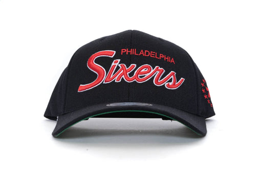 BLACK mitchell and ness philadelphia 76ers foundation script 110 snapback mitchell and ness cap