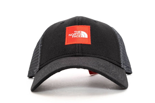black / red the north face box logo trucker hat the north face cap