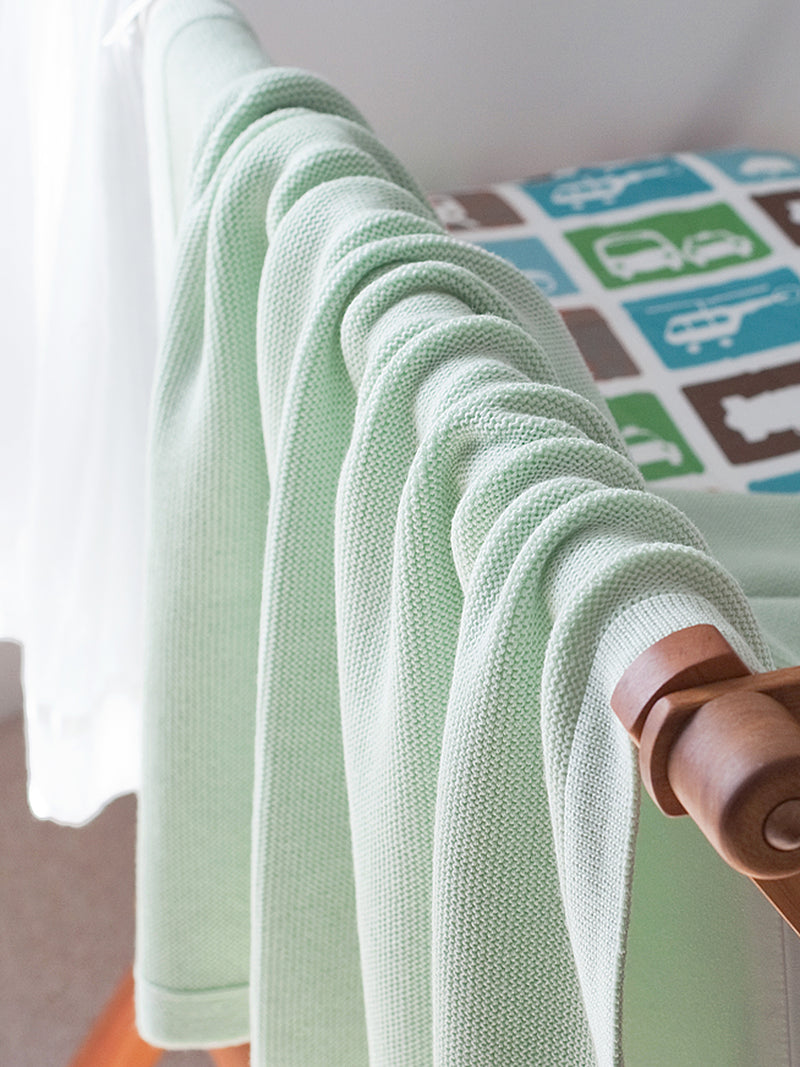 Mint Contemporary Cot Blanket - Lou & Olly Limited