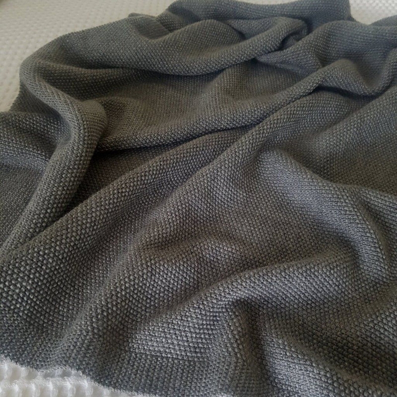 Grey Moss Stitch Blanket - Lou and Olly