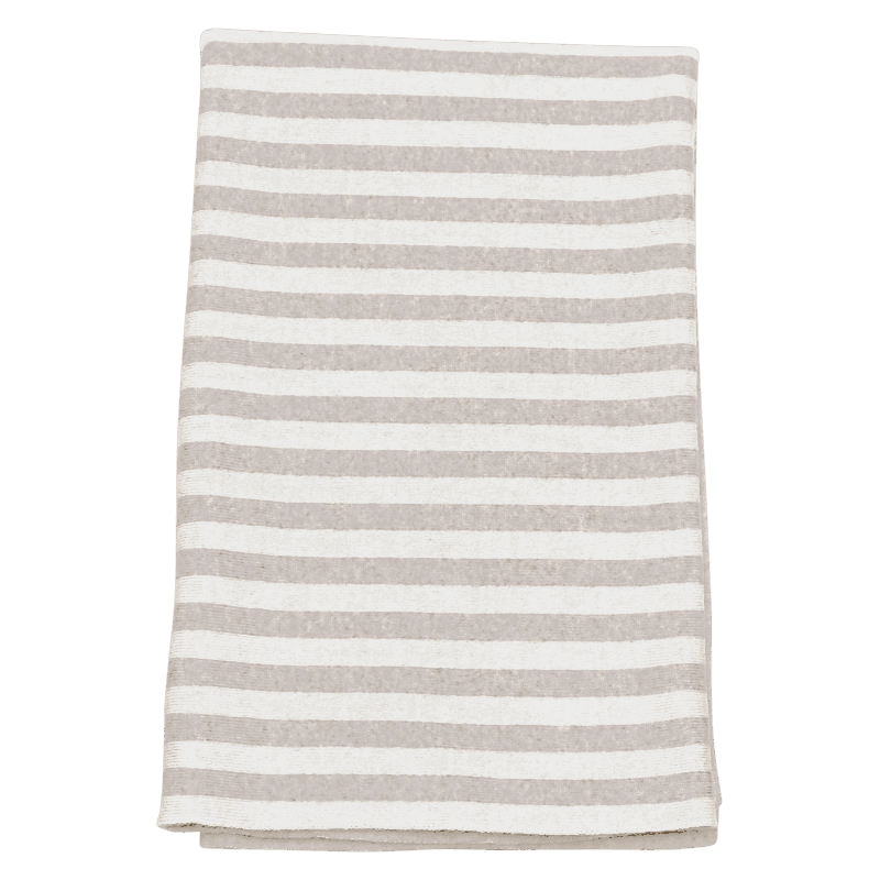 Oatmeal Stripe Super Soft Merino Baby Blanket - Lou and Olly