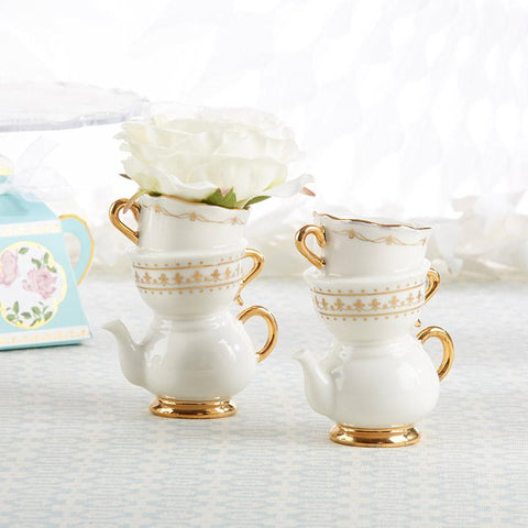 Tea Time Whimsy Ceramic Bud Vases