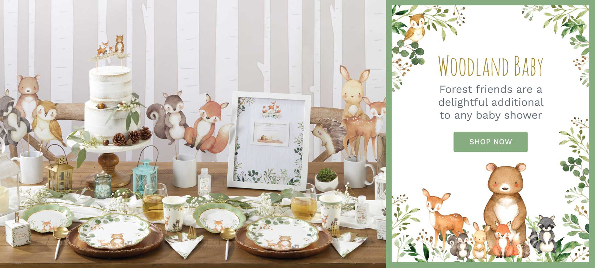 Forest friends are a delightful addition to any baby shower! Shop our Woodland Baby Shower Collection now!