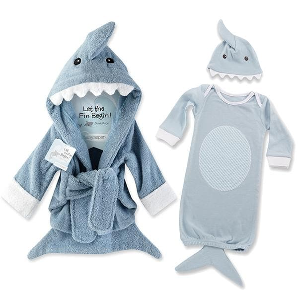 Let the Fin Begin Gift Set with Shark Robe & Layette Blue