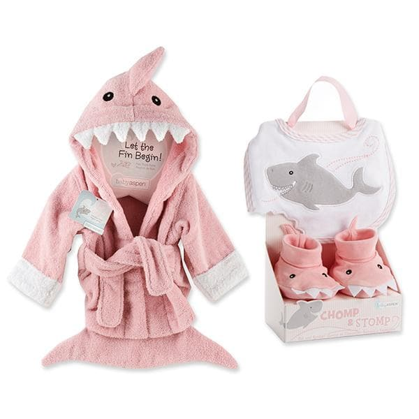 Shark Gift Set with Shark Chomp & Stomp and Shark Robe Pink