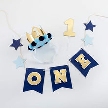 Load image into Gallery viewer, Blue & Gold 1st Birthday Décor Kit