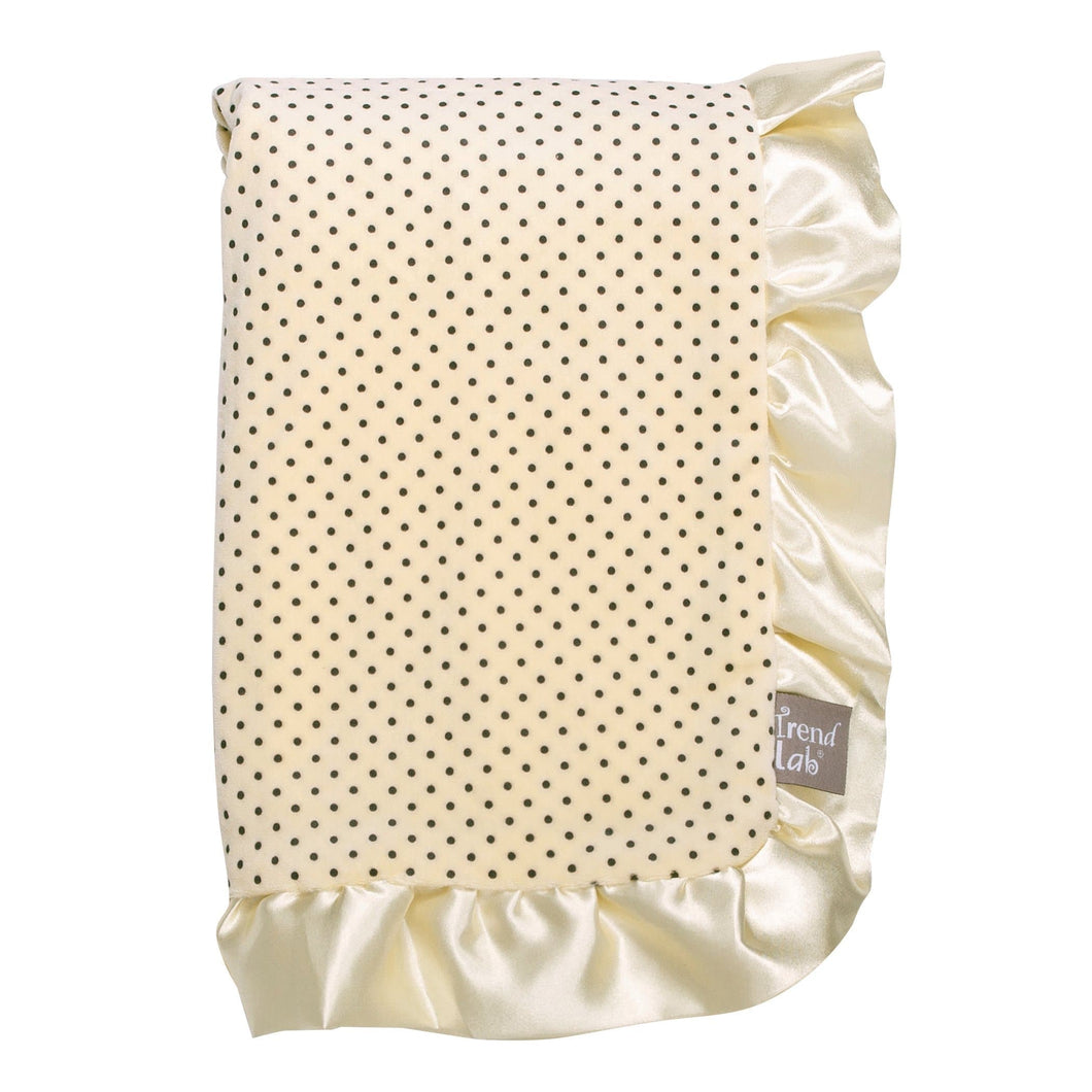 Banana Cream Dot Ruffled Trimmed Receiving Blanket