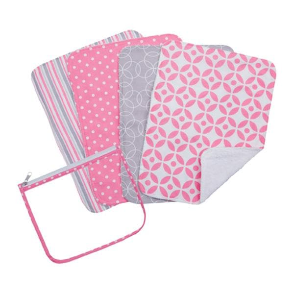 Lily Zipper Pouch and 4 Burp Cloth Gift Set