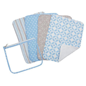 Logan Zipper Pouch and 4 Burp Cloth Gift Set