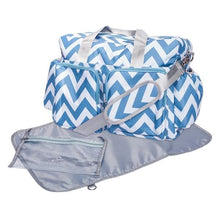 Load image into Gallery viewer, Blue and White Chevron Deluxe Diaper Bag