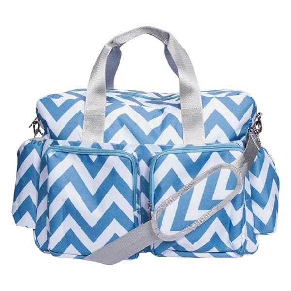 Blue and White Chevron Deluxe Diaper Bag