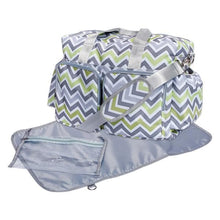 Load image into Gallery viewer, Green, Gray, and White Chevron Deluxe Diaper Bag
