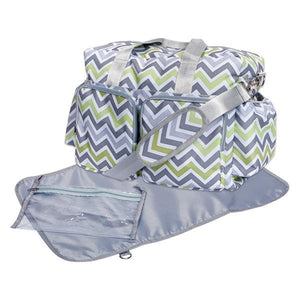 Green, Gray, and White Chevron Deluxe Diaper Bag