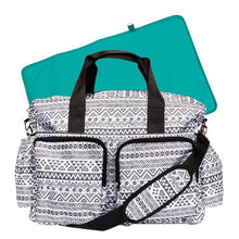 Load image into Gallery viewer, Black and White Aztec Deluxe Diaper Bag