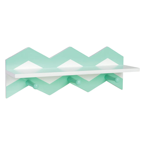Mint Chevron Shelf With Pegs