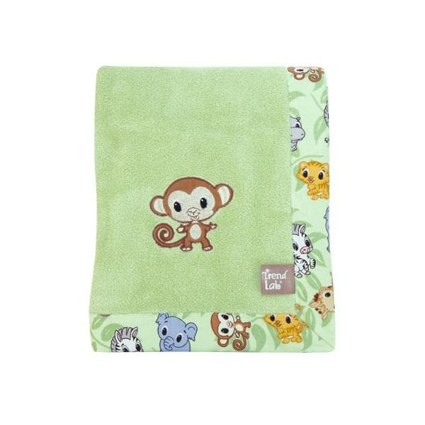 Monkey and Zoo Animals Fleece Receiving Blanket