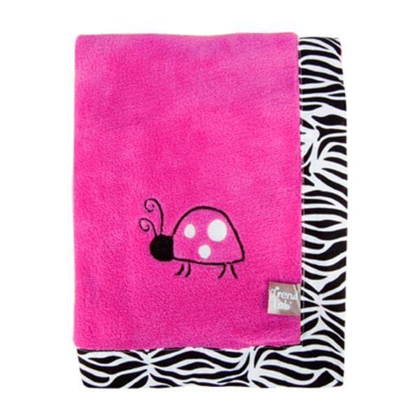 Pink Ladybug Fleece Receiving Blanket
