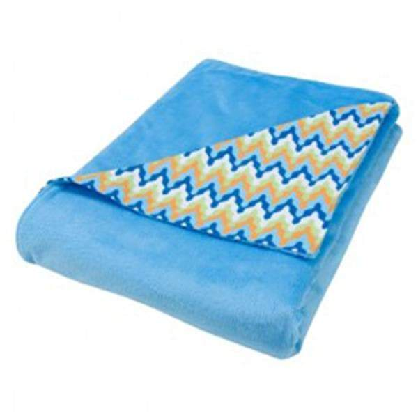 Chevron Receiving Blanket - Blue (Personalization Available)