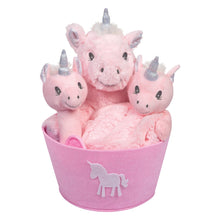 Load image into Gallery viewer, Unicorn 4 Piece Plush Gift Set Bucket