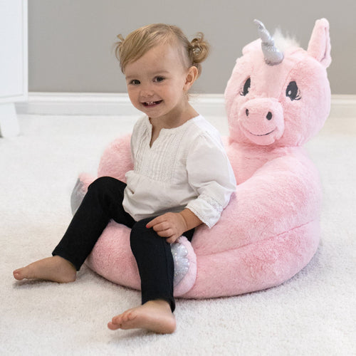 Pink Unicorn Plush Character Chair