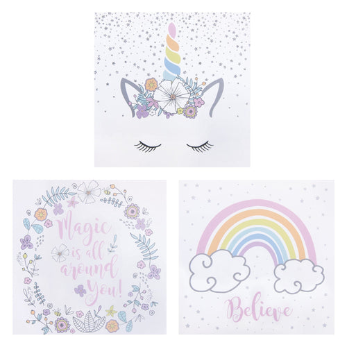 Rainbow Unicorns 3-Pack Canvas Wall Art