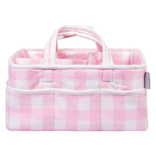 Pink and White Buffalo Check Storage Caddy