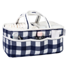 Load image into Gallery viewer, Navy and White Buffalo Check Storage Caddy