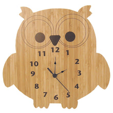 Load image into Gallery viewer, Owl Bamboo Wall Clock