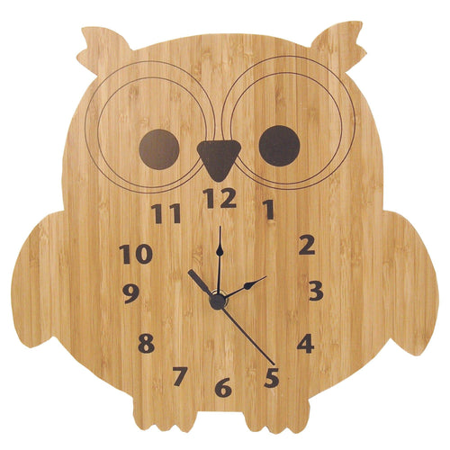 Owl Bamboo Wall Clock