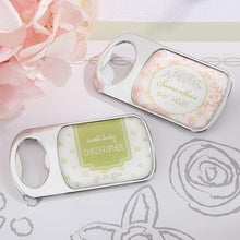 Load image into Gallery viewer, Personalized Rustic Baby Shower Silver Bottle Opener