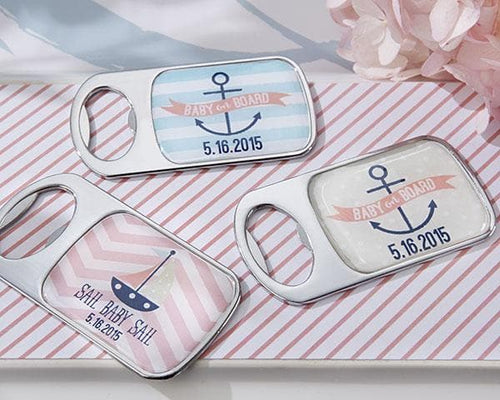 Personalized Nautical Baby Shower Silver Bottle Opener